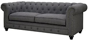 Furniture Of America Villa Traditional Tufted Faux Leather Sofa In Gray