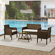 Mytunes 4 Piece Rattan Sofa Seating Group With Cushions, Outdoor Ratten Sofa Be