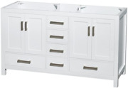 Sheffield 60 Inch Double Bathroom Vanity In White No Countertop No Sinks And