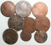 9 Us And British And Colonial Copper Cull Coins Cleaned Holed Worn Unknown As Is