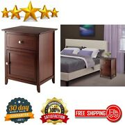 Wooden Accent Table Antique Bedroom Living Room With Drawer And Storage Walnut