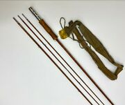 Vintage South Bend 9' Split Bamboo 3 Pc + Extra Tip Fly Rod With Sock W Flaws