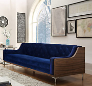Iconic Home Clark Modern Contemporary Navy Blue Velvet Tufted Swoop Arm Sofa Wit