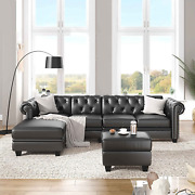 Aty Modern Convertible Sectional Sofa Set Pu Leather L-shaped Corner Couch With