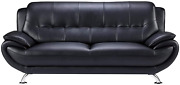 Benjara Leatherette Upholstered Wooden Sofa With Bustle Back And Stainless Steel