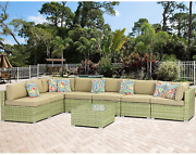 Aquilla 8-piece Outdoor Sectional Wicker Sofa Set In Olive Green Patio Furnitur