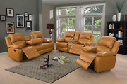 A Ainehome Sectional Recliner Sofa Set Bonded Leather 3 Pcs Motion Sofa Loveseat