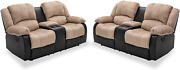 Nathaniel Home 2 Pieces Pu Leather Loveseat Recliner With Cup Holder Storage Com