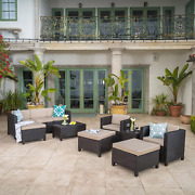 Begonia Outdoor 10 Piece Wicker Sofa Collection W/water Resistant Cushions Dark