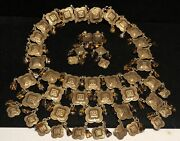Miriam Haskell Set Rare Vintage Signed Gilt Amber Glass Necklace Earrings A54