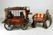 Antique 1920's Barnum And Bailey Circus Carved Wood Wooden Wagon Elephant Bears