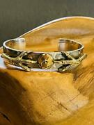 Goroand039s Claw Pattern Gold Metal Flat Bangle Size M Weight 40.1g Men Used Silver