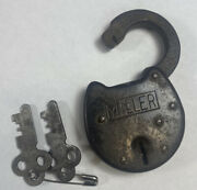Antique Miller Steel Lock And Keys Nice Old Collectible Piece Carat Coin