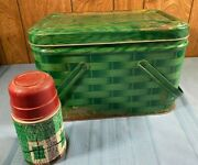 Vintage Tin Metal Green Weave Picnic Basket And Thermos