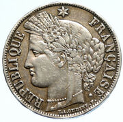 1851 A France Antique Liberty Wreath Genuine Silver 5 Franc French Coin I97083