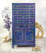 Oriental Flatware Chest Bohemian Handcarved Wood Cabinet Chinese Furniture