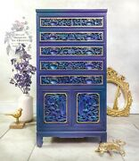 Oriental Flatware Chest, Bohemian, Handcarved Wood Cabinet, Chinese Furniture