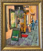 Signed And Framed Sidewalk Cafandeacute Bistro Oil Painting On 8x10 Canvas Board