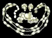 Miriam Haskell Set Necklace Brooch Earring Glass Crystal Rare Vintage Signed 3pc