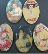 Vintage Lot Of 5 Cocacola Pocket Mirrors From 70s And 80s Ladies Sign