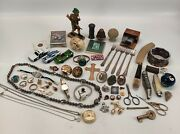 Vintage Junk Drawer Lot Railroad Hot Wheels Red Line Pins Jewelry Knives
