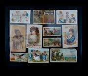 Victorian Trading Cards Framed In Double Sided Glass Lot Of 11