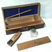Beautiful Box Pencil Box Inkwell Painted Faux Wood And Marquetry 1900