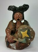 Glen Lafontaine Native American Indian Clay Pottery Sculpture War Song Military