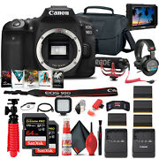 Canon Eos 90d Dslr Camera Body Only 3616c002 + 4k Monitor + Mic + More
