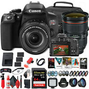 Canon Eos Rebel T8i Dslr Camera With 18-55mm Lens + Canon Ef 24-70mm + More