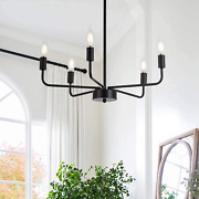 Matte Black Chandelier Modern Farmhouse Candle Ceiling Light Contemporary 5 For