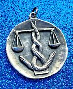 Extremely Rare James Avery Large Scales Of Justice Pendant With Ja Box
