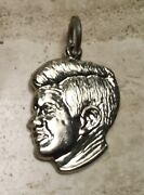 """Sterling Silver Jfk Kennedy Charm """"ask Not What Your Country"""" On Reverse - New"""