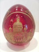 Vintage Ruby Red Art Glass Etched Cut Egg Faberge Church Scene