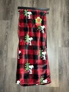 Berkshire Blanket Blanket Twin Oversized Throw Snoopy Christmas Tree Red Plaid