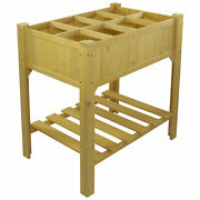 Northlight 3ft Wooden Raised Garden Bed Planter Box With Grow Grid And Shelf