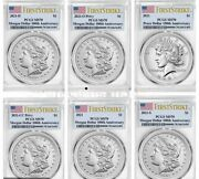 2021 P, Cc, O, D, S Morgan And Peace Dollar Pcgs Ms70 First Strike 6 Coins Set