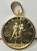 1984-w Proof Olympic Commemorative 10 Gold Coin With 14k Gold Bezel