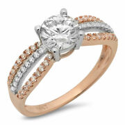 1.27 Ct Round Cut Real Certified Cultured Diamond Real 14k White Rose Gold Ring