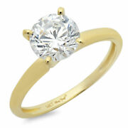1 Ct Round Cut Real Certified Cultured Diamond 14k Yellow Gold Solitaire Ring