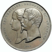France Napoleon Iii And Eugenia Nord Pavillion Antique Vintage French Medal I97718