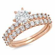1.66 Ct Round Cut Real Certified Cultured Diamond Real 18k Rose Gold Bridal Set