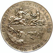 1898 Argentina Buenos Aires Exposition Fair French Antique Silver Medal I97721