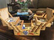 Vintage Wood Accordion Fold Out Box Sewing Box Hand Painted Floral + Thread 🧵