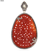 9.85ct Orange Agate Diamond 18kt Gold 925 Sterling Silver Carved Pendant Jewelry