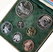 Gambia 1966/1970 7-coin Proof Set Including Silver 8 Shillings W/original Case