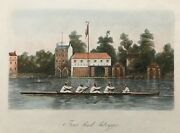 1851 Antique Print Four Par'd Outrigger - Rowing, Searle And Sons, Lambeth