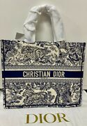 Christian Dior Dior Book Tote Blue Toile De Jouy Embroidery -nwt - Msrp 3250