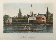1851 Antique Print Scullers Outrigger - Rowing, Searle And Sons, Lambeth