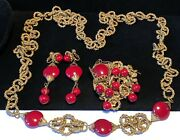 Miriam Haskell Set Rare Vintage Signed Gilt Red Glass Necklace Brooch Earrings
